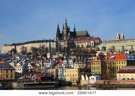 A View On The Prague Castle Over The River Vltava