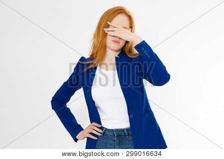 Cute, Young Beautiful Red Hair Woman Do Facepalm. Redhead Girl Headache Failed To Upset Business Fac
