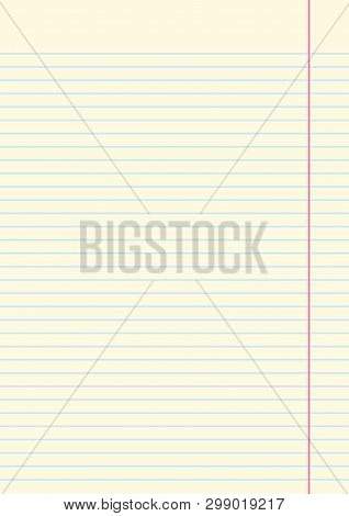 Yellow Lined Paper Sheet With Margin On Right