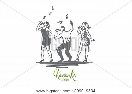 Music, Song, Band, Dance, Party Concept. Hand Drawn People Dancing And Sing Songs Concept Sketch. Is