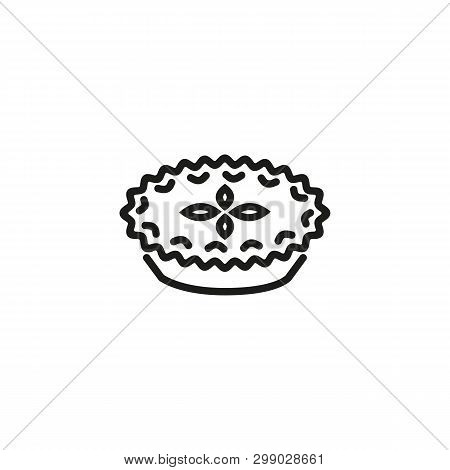 Savory Pie Line Icon. Recipe, Casserole, Dinner. Cuisine Concept. Can Be Used For Topics Like Cookin