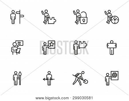 Conceptual Figures Line Icon Set. Person, Man, Clock, Spade, Gear. Business Concept. Can Be Used For