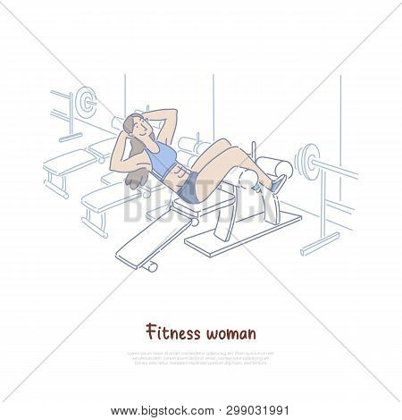 Young Woman In Sportswear, Female Athlete Working Out In Gym, Healthy Lifestyle, Fitness Center Bann