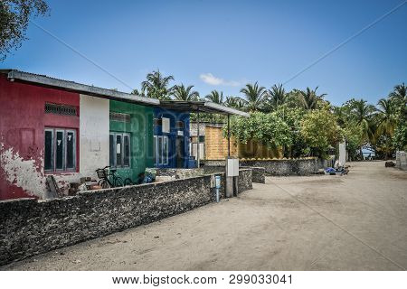 Fehendhoo Island, Maldives - March 26, 2018: Empty Street In Traditional Maldivian Village On Fehend