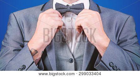 Esthete. Stylish Art Director. Businessman Fix Bow Tie. Illusionist. Bride Groom Ready For Wedding.