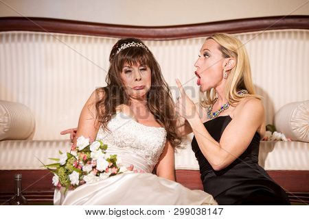 Friend Shaming Sad Bride At A Wedding