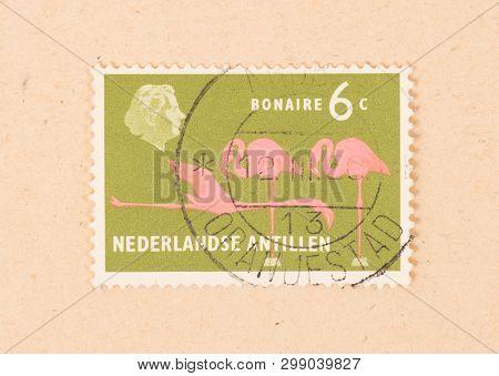 Bonaire - Circa 1966: A Stamp Printed In Bonaire Shows A Flamingo, Circa 1966