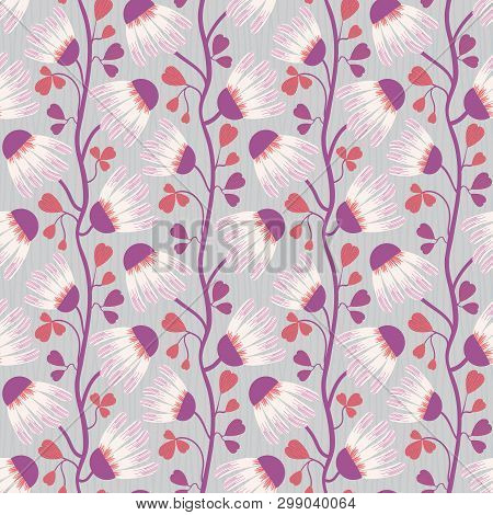 White And Purple Flowers And Heart Shaped Leaves On Subtly Striped Blue Grey Background. Seamless Ve