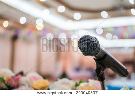 Seminar Conference Concept : Microphones For Speech Or Speaking In Seminar Conference Hall, Prepare