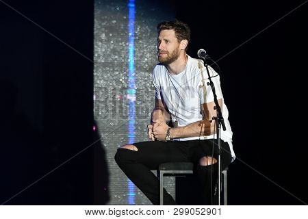 LAS VEGAS-APR 5: Rhett Akins (L) and Thomas Rhett perform at the ACM Stories, Songs and Stars show at MGM Grand on April 5, 2019 in Las Vegas, Nevada.