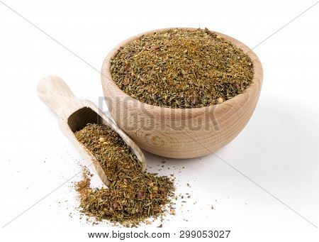 Red Savory Mix Or Chubritsa In Wooden Bowl And Scoop Isolated On White Background. Spices And Food I