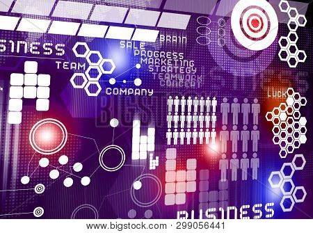 Digital Business Background Image With Icons On Media Screen