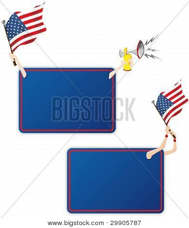 Usa Sport Message Frame With Flag. Set Of Two
