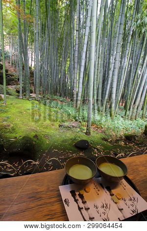 Kamakura, Japan - April 7, 2019 : Two Cups Or Bowls With Fresh Matcha Tea In The Giant Bamboo Garden