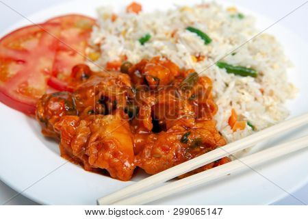 Chicken sweet and soor with vegetable fried rice