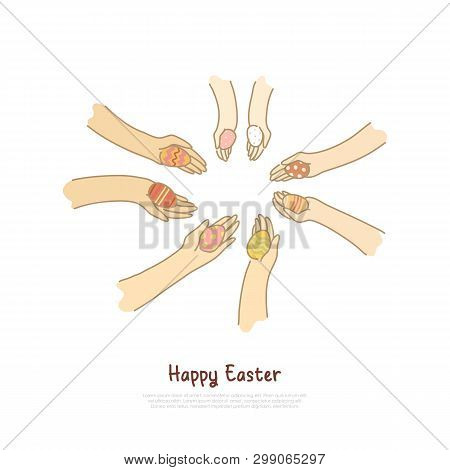 Decorated Pysanka In Hands, People Sharing Presents, Togetherness, Easter Game, Paschal Eggs Hunting