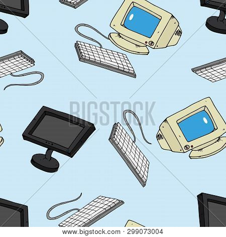 Vector Illustration Of Old And New Monitors. Seamless Pattern. Keyboard With An Lcd Monitor. Hand Dr