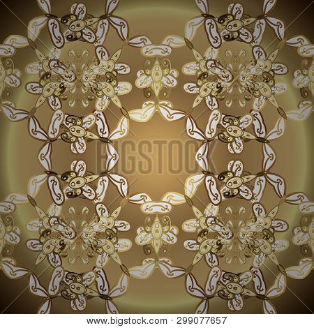 Gold Metal With Floral Pattern. Vector Golden Floral Ornament Brocade Textile And Glass Pattern. Sea