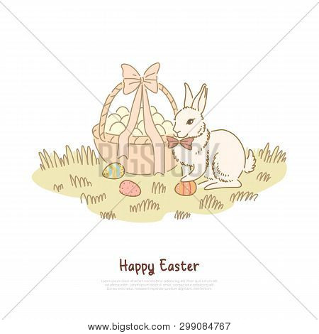 Traditional Spring Holiday Celebration, Fluffy Paschal Rabbit With Bow Tie, Decorated Eggs Hunting B