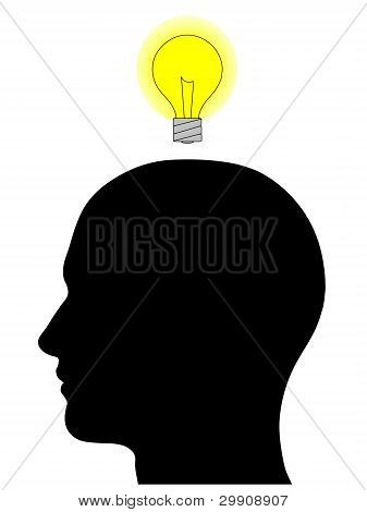 Male Head Silhouette With Light Bulb