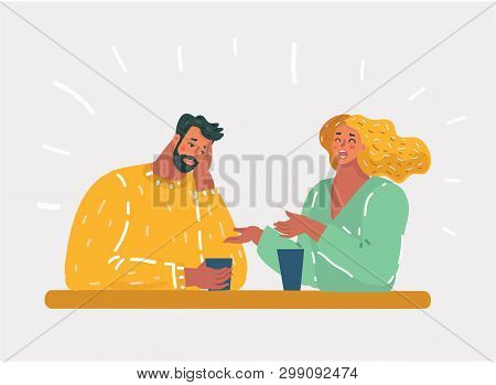 Vector Cartoon Illustration Of Girl Talking Small Talk Chatter With Man, Who Bored. Unhappy Couple O