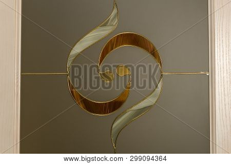 Drawing On Glass With Molding And Decorative Inserts On Frosted Glass With Two Wooden Borders