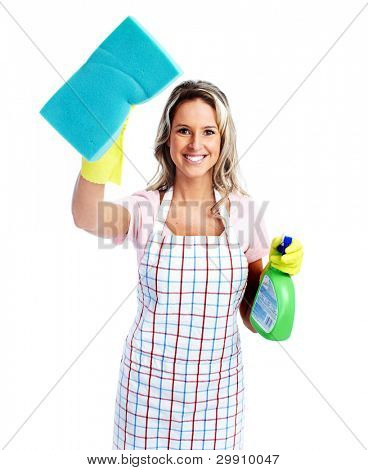 Young smiling cleaner woman. Isolated over white background.