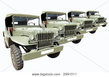 Vintage Military Cars 40'S In Row