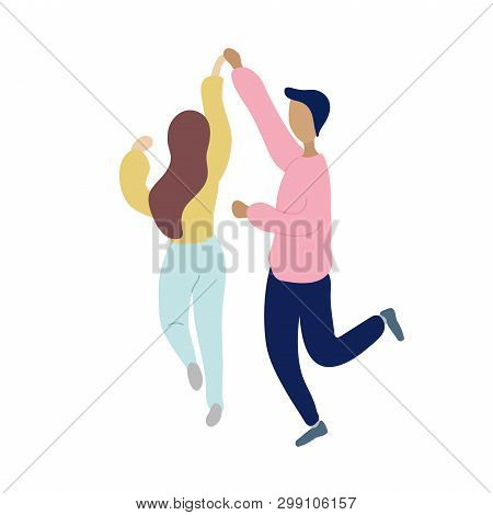 Young Dancing Tiny Stylish People. Vector Flat Modern Beauty Style Illustration Icon Design. Isolate