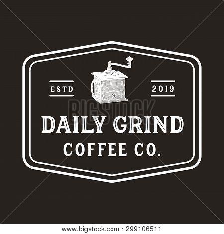 Vintage Coffee Grinder Logo - Vintage, Antique Style Logo For Coffee Shop And Roaster
