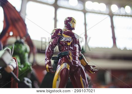 Saint Petersburg, Russia - April 27, 2019: Tony Stark Is An Iron Man. Marvel Character In Armor. Fig