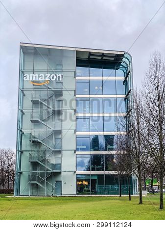 Munich, Germany - December 24, 2018: Amazon Logo At The Company Office Building Located In Munich, G