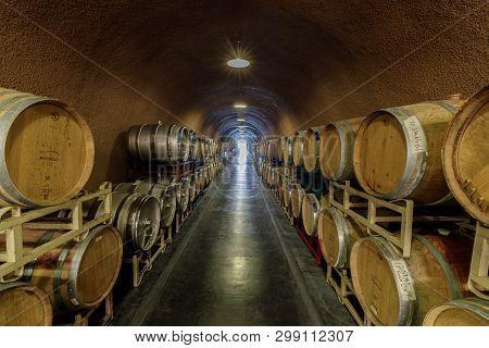 Kenwood, California - April 28, 2019: Cask Storage In Underground Wine Cellar In Deerfield Ranch Win