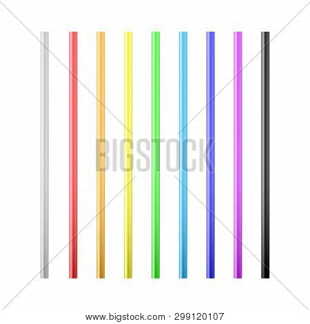 Set Of Colorful Drinking Straws. Straws For Beverage. Vector Illustration Isolated On White Backgrou