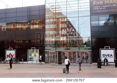 Stockholm, Sweden - September 14, 2016: People Outside The Entrance To The Kista Galleria Shopping M