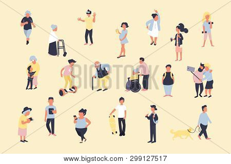Set Of Cartoon People Walking On Street. Crowd Of Male And Female Tiny Characters. Colorful Bundle I