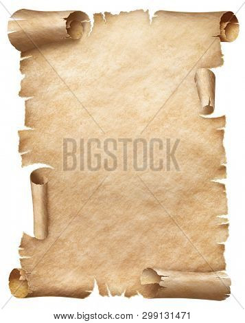 Ancient papyrus or parchment isolated on white