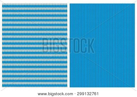 Blue Knitwear Style Vector Patterns. Vivid Blue Simple Sweater Design For Textile, Layout, Printing,