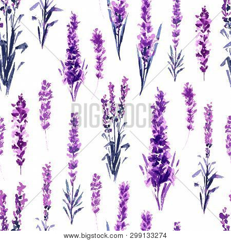 Lavender Field Seamless Pattern. Watercolor Or Aquarelle Paintings Of Provence Lavandula. Hand Drawn