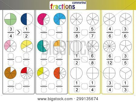 Comparing Fractions, Use Less Than Or More Than Sign Compare The Fractions, Math Worksheet