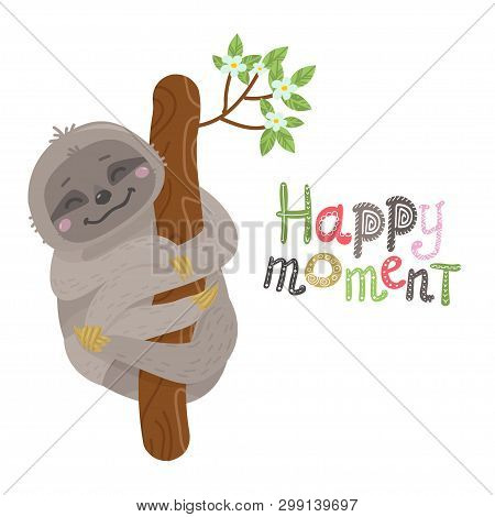 Vector Cute Cartoon Sloth Hanging On A Tree