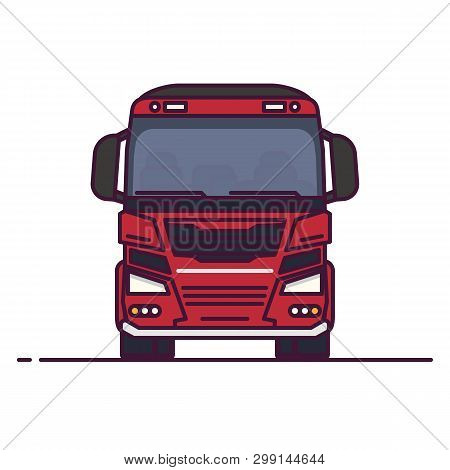 Front View Of Freight Truck. Line Style Vector Illustration. Transportation Truck Vehicle Banner. Tr