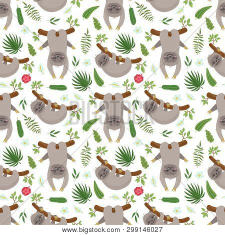 Seamless Pattern With Cute Sloths. Vector Illustration For Your Design