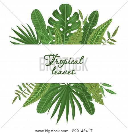Bright Wreath Of Colorful Tropical Leaves. Vector Illustration For Your Design