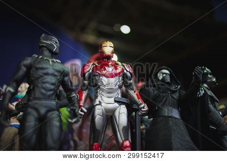 Saint Petersburg, Russia - April 27, 2019: Characters Of The Film Universe Marvel, The Iron Man Near