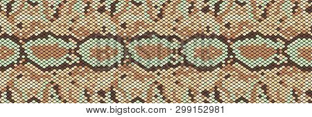 Snakeskin Seamless Pattern. Realistic Texture Of Snake Or Another Reptile Skin. Beige, Green And Bro
