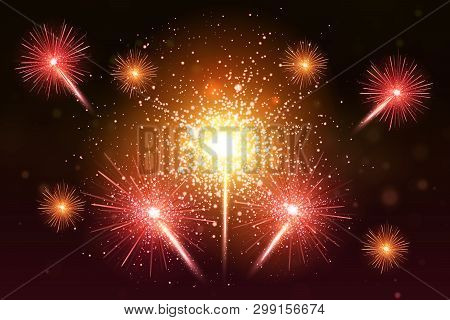 Colorful Fireworks Set. Bright Festive Realistic Vector Fireworks Illustration. New Year Christmas F