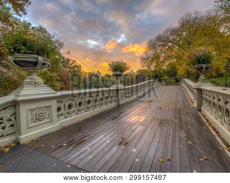 Bow Bridge In New York City, Central Park Manhattan In Autumn