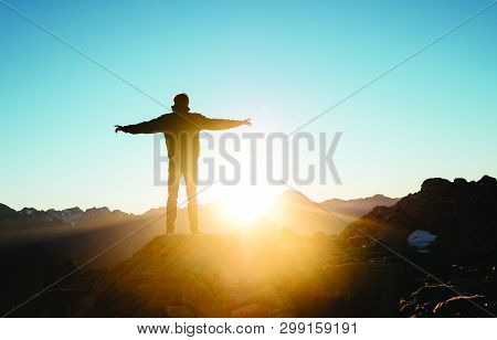 natural beauty of sunset and mountain during golden hour