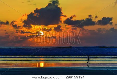 Natural Beauty Of Beach And Sunset During Golden Hour